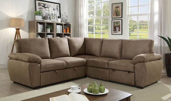 Furniture of America Alka Light Brown Sectional FOA-CM6576-SECT
