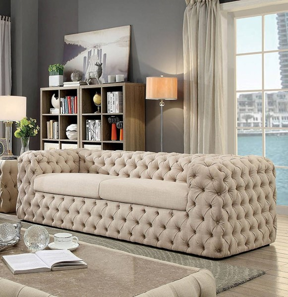 Furniture of America Gia Beige Sofa FOA-CM6599-SF