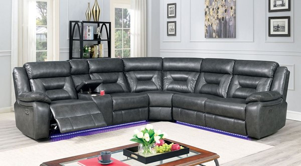 Furniture Of America Omeet Gray Power Sectional FOA-CM6642GY-SECT-PM