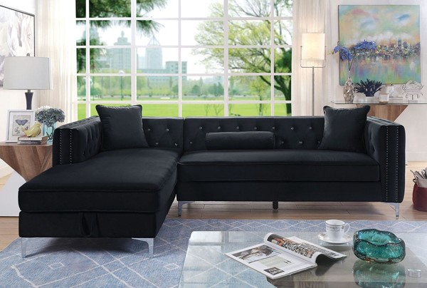 Furniture Of America Amie Black Sectional FOA-CM6652BK-SECT