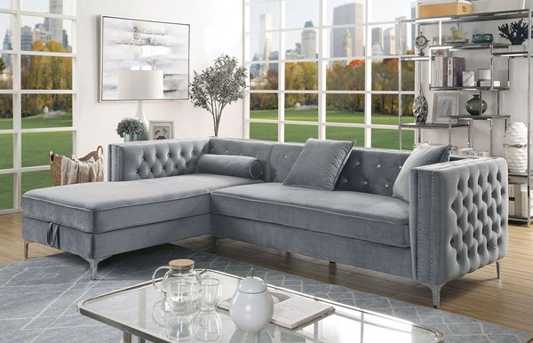 Furniture Of America Amie Gray Sectional FOA-CM6652GY-SECT
