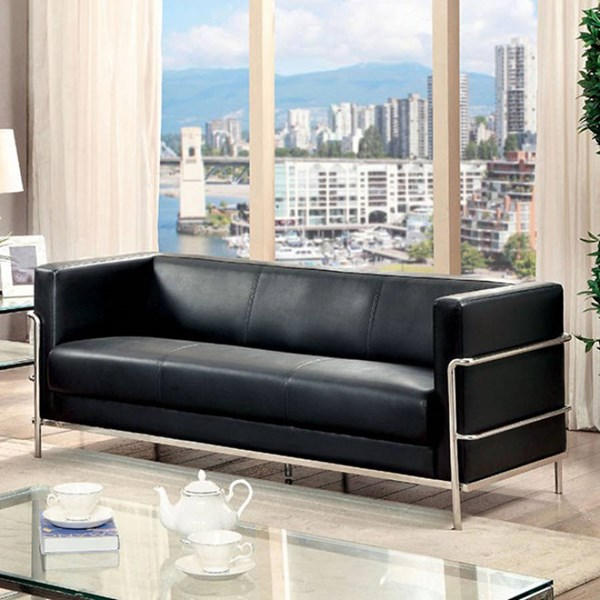 Furniture of America Leifur Black Sofa FOA-CM6791BK-SF