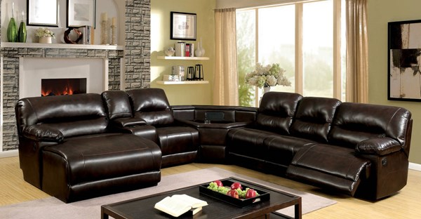 Furniture of America Glasgow Wedge Table Sectional FOA-CM6822BR-T-SECT