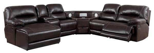 Furniture of America Glasgow Brown Sectional with Speaker Wedge FOA-CM6822BR-TSP-SECT