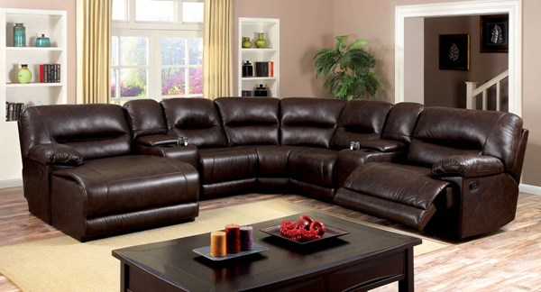 Furniture of America Glasgow 2 Consoles Sectional FOA-CM6822BR-SECTIONAL