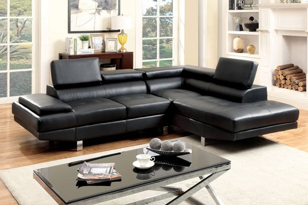 Furniture of America Kemina Black Sectional FOA-CM6833BK-SET
