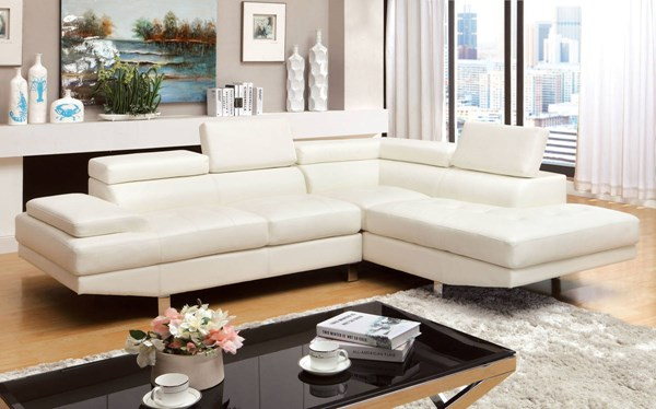 Furniture of America Kemina White Sectional FOA-CM6833WH-SET