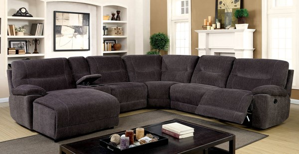 Furniture of America Karlee II Gray Sectional with Console FOA-CM6853-SECTIONAL
