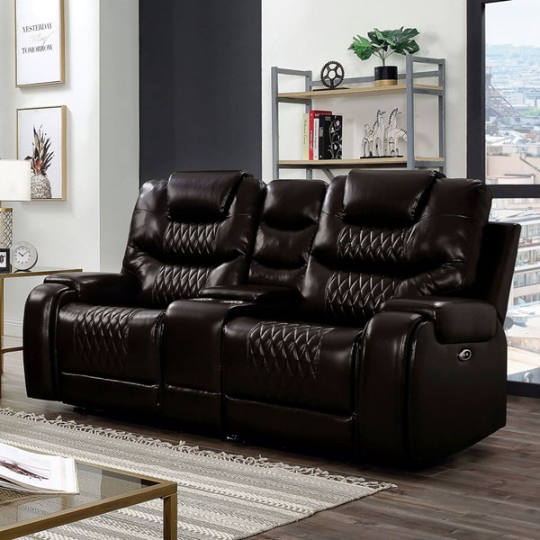Furniture of America Marley Brown Faux Leather Loveseat FOA-CM6894BR-LV