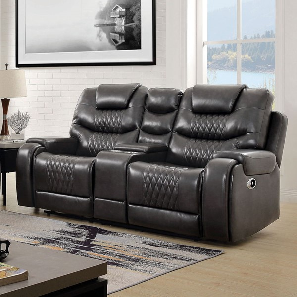 Furniture of America Marley Gray Faux Leather Loveseat FOA-CM6894GY-LV