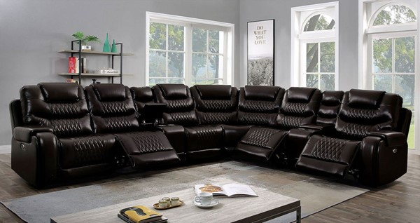 Furniture of America Mariah Faux Leather Sectional with Armless Chair FOA-CM6895-SEC-AC-VAR