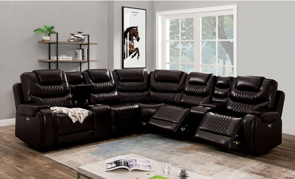 Furniture of America Mariah Dark Brown Faux Leather Sectional FOA-CM6895BR-SECT