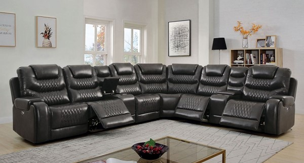 Furniture of America Mariah Gray Faux Leather Sectional with Armless Chair FOA-CM6895GY-SECT-AC