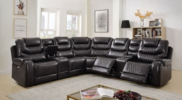 Furniture of America Mariah Gray Faux Leather Sectional FOA-CM6895GY-SECT