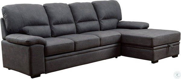 Furniture of America Alcester Graphite Sectional with Sleeper FOA-CM6908BK-SET