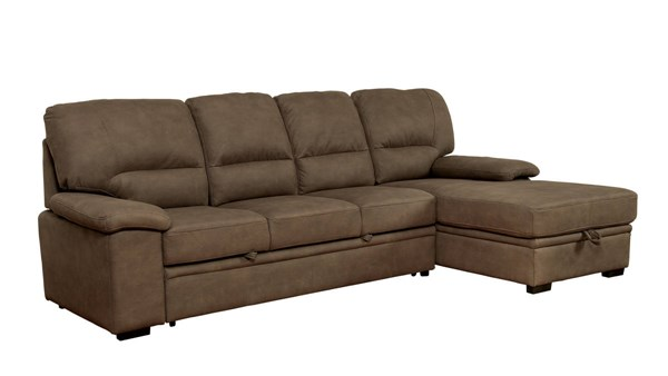 Furniture of America Alcester Brown Sectional with Sleeper FOA-CM6908BR-SET