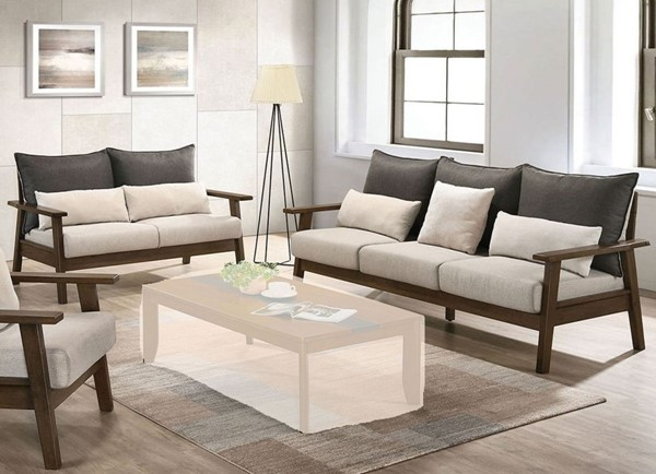 Furniture of America Louis Light Walnut Charcoal Beige 2pc Living Room Set FOA-CM6911-2PC