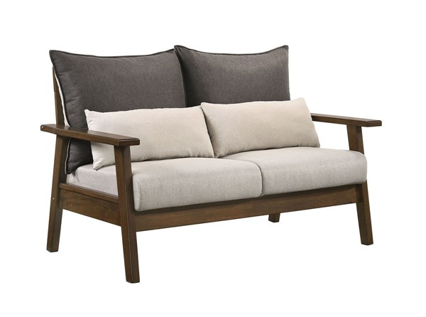 Furniture Of America Louis Light Walnut Charcoal Beige Love Seat FOA-CM6911-LV-PK