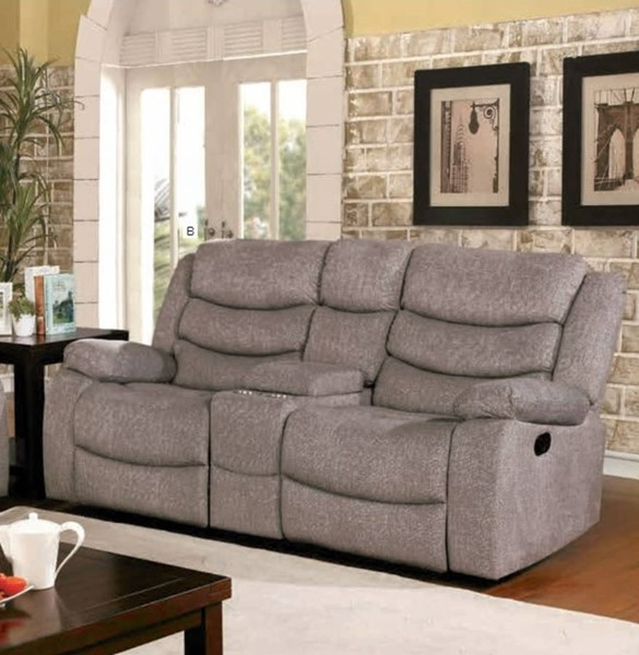 Furniture of America Castleford Light Gray 2 Recliners Console Loveseat FOA-CM6940-LV