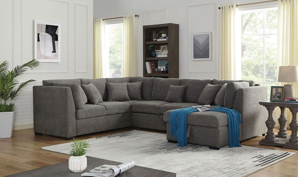 Furniture of America Bethan Gray Fabric Sectional FOA-CM6946-SECT