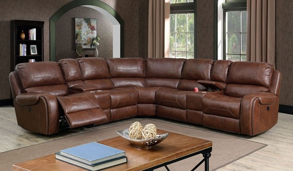 Furniture Of America Joanne Brown Power Sectional FOA-CM6951BR-PM-SECT