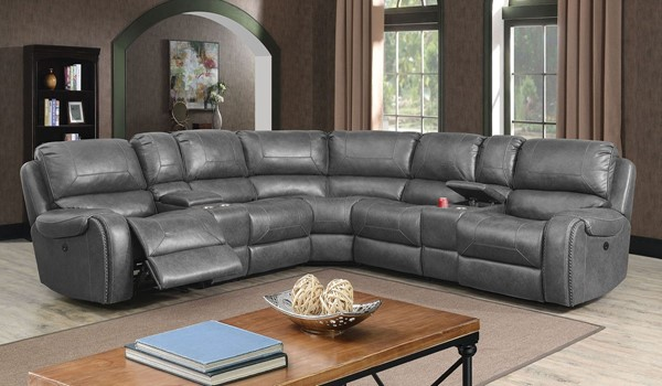Furniture Of America Joanne Gray Power Sectional FOA-CM6951GY-PM-SECT