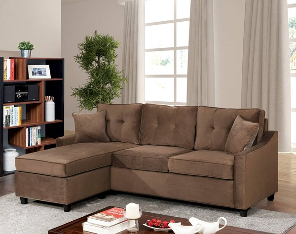 Furniture of America Hakin Brown Reversible Chaise Corner Sofa Set with Pillows FOA-CM6953BR
