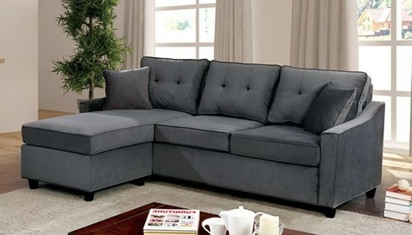 Furniture of America Hakin Gray Reversible Chaise Corner Sofa Set with Pillows FOA-CM6953GY