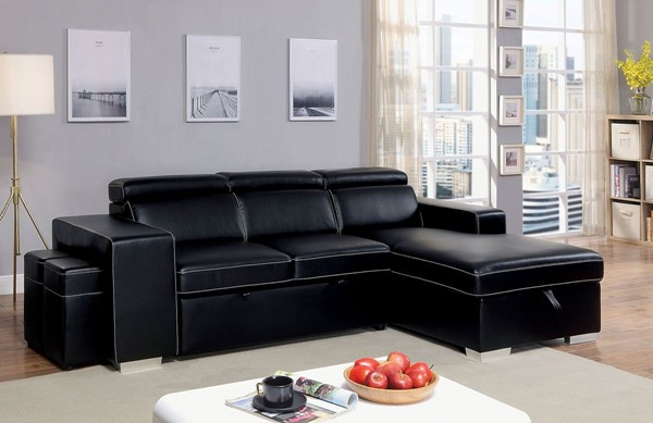 Furniture Of America Elvin Black Sectional FOA-CM6958-SECT