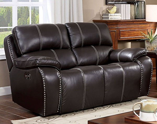Furniture Of America Eppi Dark Brown Power Love Seat FOA-CM6973-LV