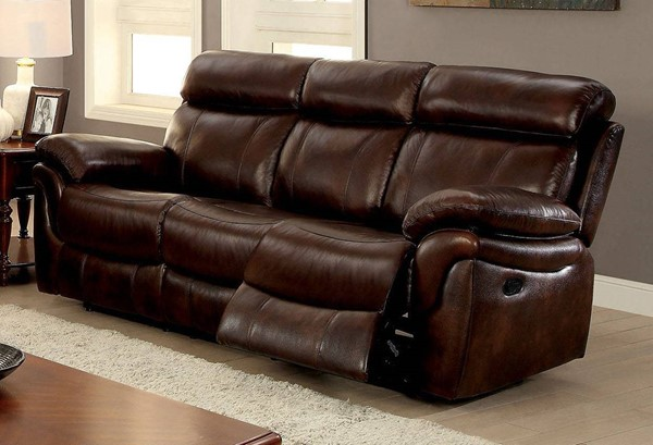 Furniture of America Kinsley Sofa with 2 Recliners FOA-CM6983-SF