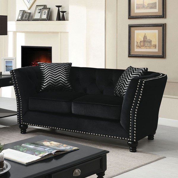 Furniture Of America Abercarn Black Love Seat FOA-CM6986-LV