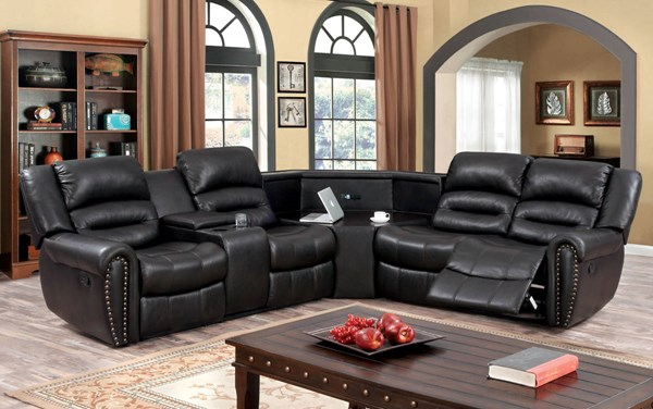 Furniture of America Wales 4 Seat Leath-Aire Sectional FOA-CM6987-SECTIONAL
