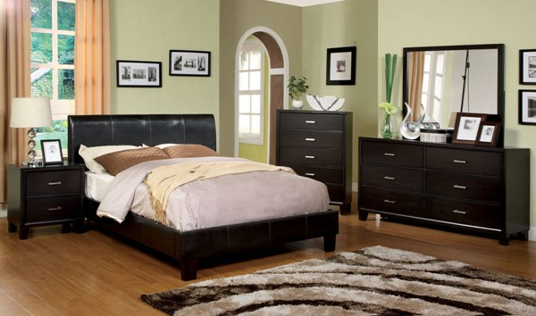 Villa Park Espresso Leatherette Solid Wood Master Bedroom Set FOA-CM7007-BR