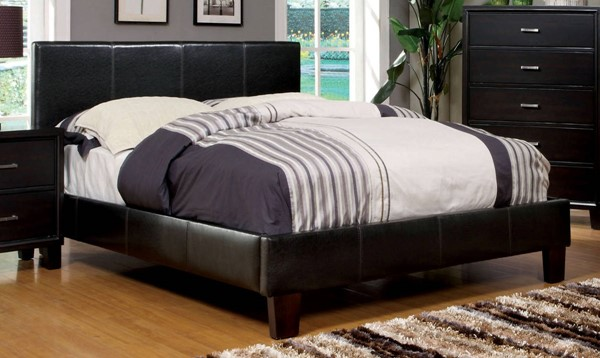 Winn Park Contemporary Espresso Leatherette Solid Wood Queen Bed FOA-CM7008Q-BED