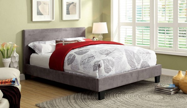 Furniture of America Winn Park Gray Fabric King Bed FOA-CM7008GF-EK-BED