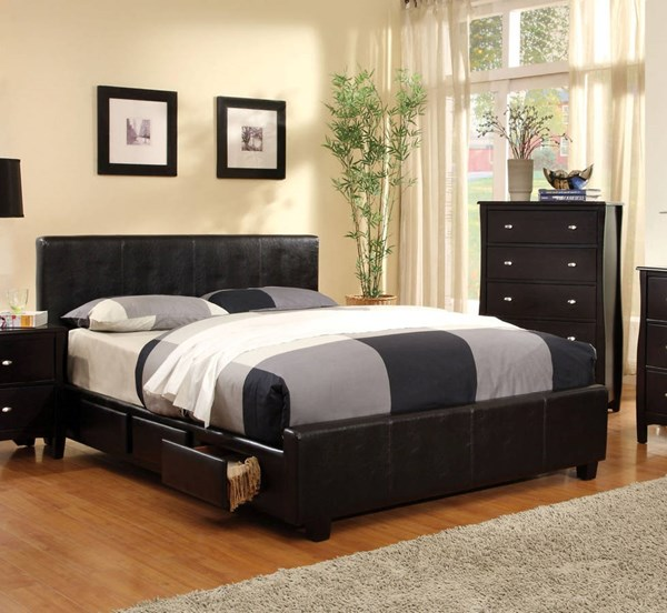 Burlington Contemporary Espresso Leatherette Solid Wood Drawers Beds FOA-CM7009-BED-VAR
