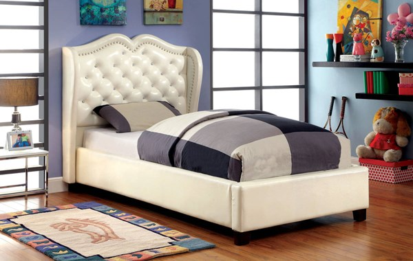 Monroe Contemporary Ivory Leatherette Solid Wood Veneer Queen Bed FOA-CM7016IV-Q-BED