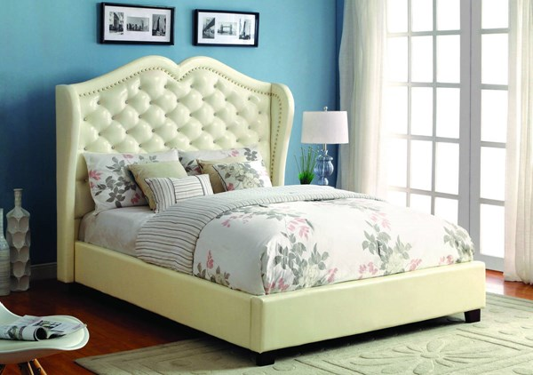 Monroe Contemporary Ivory Leatherette Solid Wood Veneer Cal King Bed FOA-CM7016IV-CK-BED