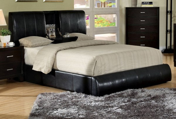 Webster Espresso Leatherette Solid Wood Queen Bed FOA-CM7027Q-BED