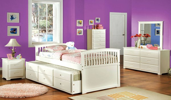 Furniture of America Bella Full Trundle Drawers Bed FOA-CM7035W-F-BED