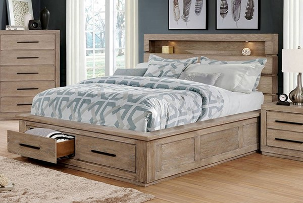 Furniture of America Oakburn Light Gray Cal King Bed FOA-CM7048NT-CK-BED