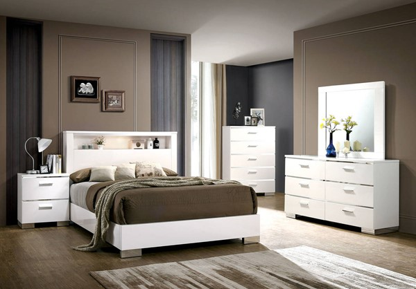 Furniture Of America Malte White King Bed FOA-CM7049WH-CK-BED