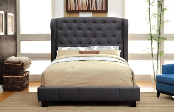 Fontes Contemporary Gray Fabric Solid Wood Veneer King Bed FOA-CM7050GY-EK-BED