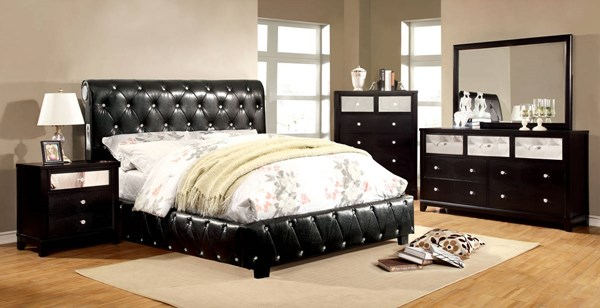 Juilliard Contemporary Solid Wood Leatherette Master Bedroom Set FOA-CM7056-BR