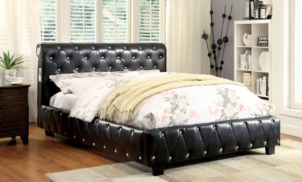 Juilliard Contemporary Black Leatherette Solid Wood Cal King Bed FOA-CM7056BK-CK-BED