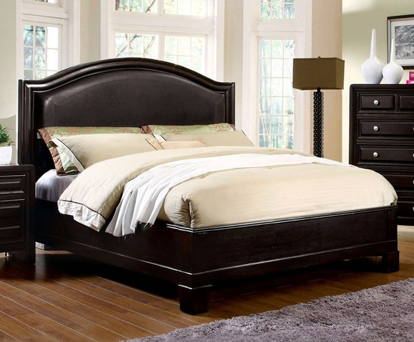 Winsor Transitional Espresso Leatherette Solid Wood Queen Bed FOA-CM7058Q-BED