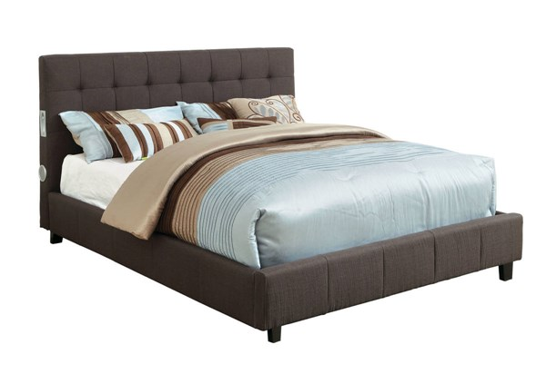 Dillan Contemporary Gray Fabric Solid Wood King Bed FOA-CM7060GY-EK-BED