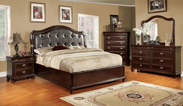 Arden Transitional Brown Cherry Leatherette Solid Wood Queen Bed FOA-CM7065Q-BED