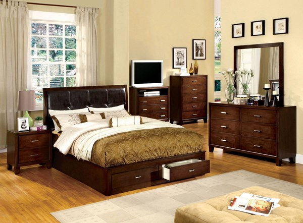 Enrico III Brown Cherry Espresso Leatherette Solid Wood Beds FOA-CM7066-BED-VAR